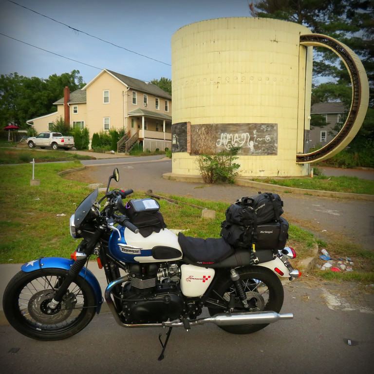 giant coffee mug building in wilkes-barre pennsylvania and triumph bonneville