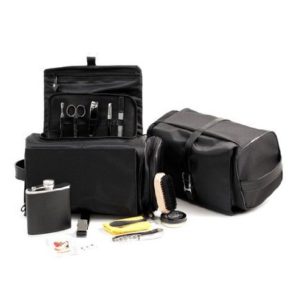 Black Leather and Nylon DOPP Travel Tote Kit Bag With Flask
