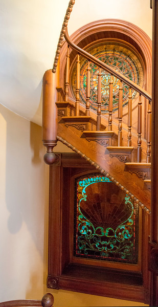 The stairwell leading up to the servants' quarters.