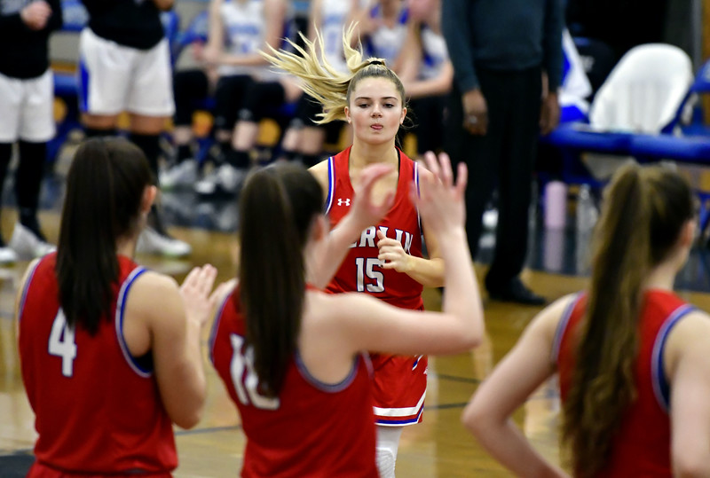 2/6/2020 Mike Orazzi   Staff Berlin High School's Carly Grega (15) during Thursday night's girls basketball game with Bristol Eastern in Bristol.