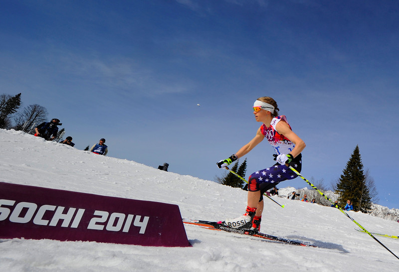 . US Elizabeth Stephen competes  in the Women\'s Cross-Country Skiing 30km Mass Start Free Flower Ceremony at the Laura Cross-Country Ski and Biathlon Center during the Sochi Winter Olympics on February 22, 2014, in Rosa Khutor, near Sochi. (PIERRE-PHILIPPE MARCOU/AFP/Getty Images)