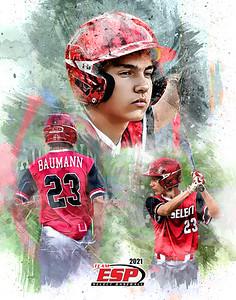 2021 11x14 Baumann Baseball Grunge Print
