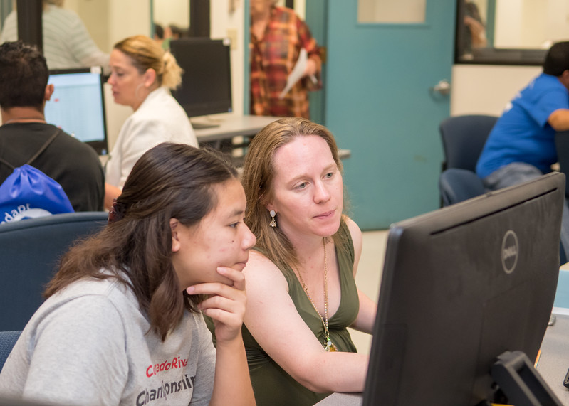 Student Chyna Sanchez (left) receives help creating her Fall 2017 schedule from Adjunct Instructor Jenna Cooper during New Student Orientation.  For more information on how to register for New Student Orientation, click here: http://bit.ly/2sz8nbl