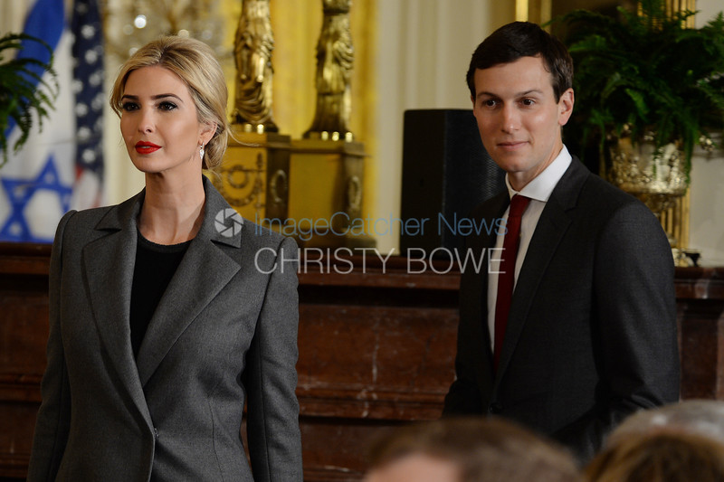 First daughter Ivanka Trump and husband Jared Kushner enter the East Room for a joint two and two press conference .