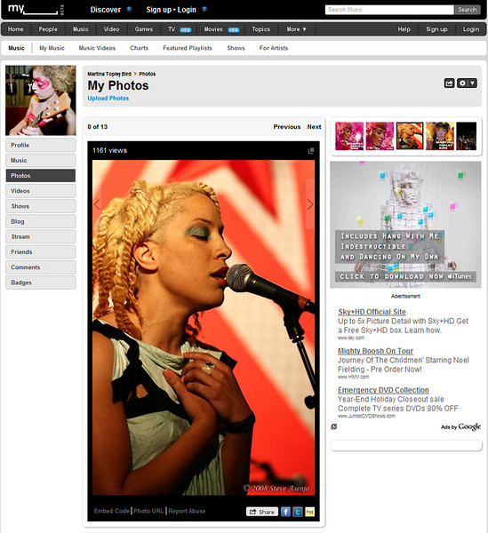 Photo featured on Martina Topley Bird's official MySpace page.