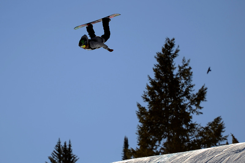 . Halldor Helgason catches big air at the men\'s snowboard slopestyle elimination in Aspen at Winter X Games in Aspen, January 23, 2014. The men\'s snowboard slopestyle final will be held Saturday afternoon on Buttermilk Mountain. 
