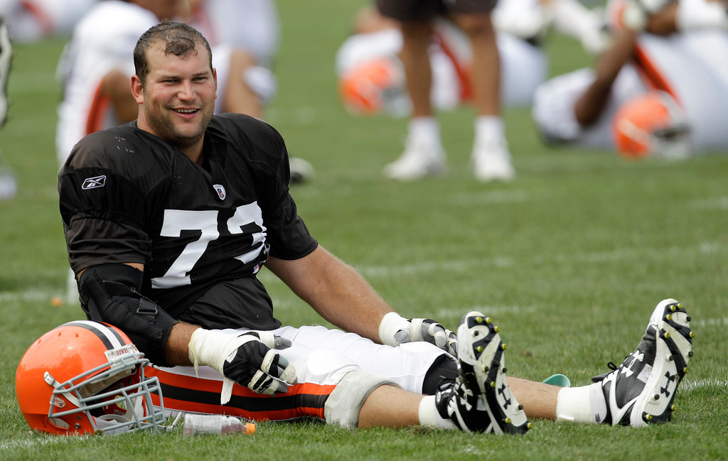 . Cleveland Browns\' offensive tackle, Joe Thomas, stretches during practice at the NFL football team\'s training camp Tuesday, Aug. 2, 2011, in Berea, Ohio. (AP Photo/Tony Dejak)
