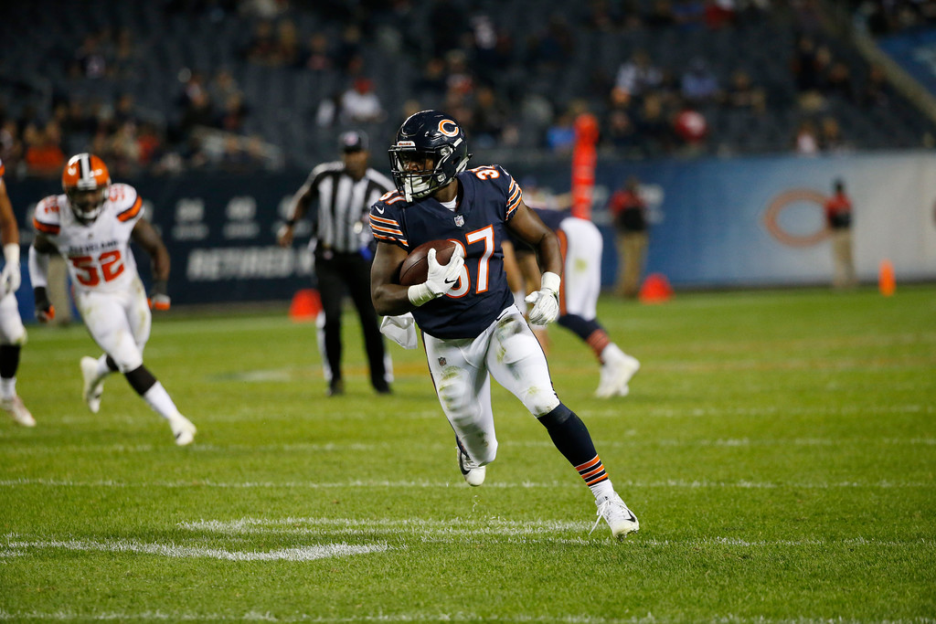 . Chicago Bears running back Josh Rounds (37) during the second half of an NFL preseason football game against the Cleveland Browns, Thursday, Aug. 31, 2017, in Chicago. (AP Photo/Nam Y. Huh)