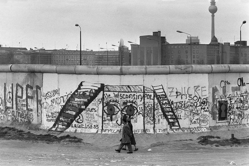 . Various graffiti are painted on the Berlin Wall on the West Berlin side on April 29, 1984.   AFP PHOTO    JOEL ROBINE (Photo credit JOEL ROBINE/AFP/Getty Images)
