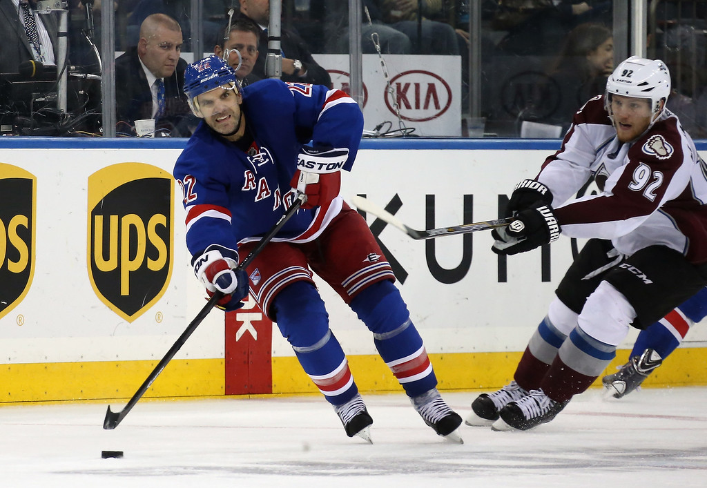 . NEW YORK, NY - NOVEMBER 13: Dan Boyle #22 of the New York Rangers skates against the Colorado Avalanche at Madison Square Garden on November 13, 2014 in New York City. The Avalanche defeated the Rangers 4-3 in the shootout. (Photo by Bruce Bennett/Getty Images)