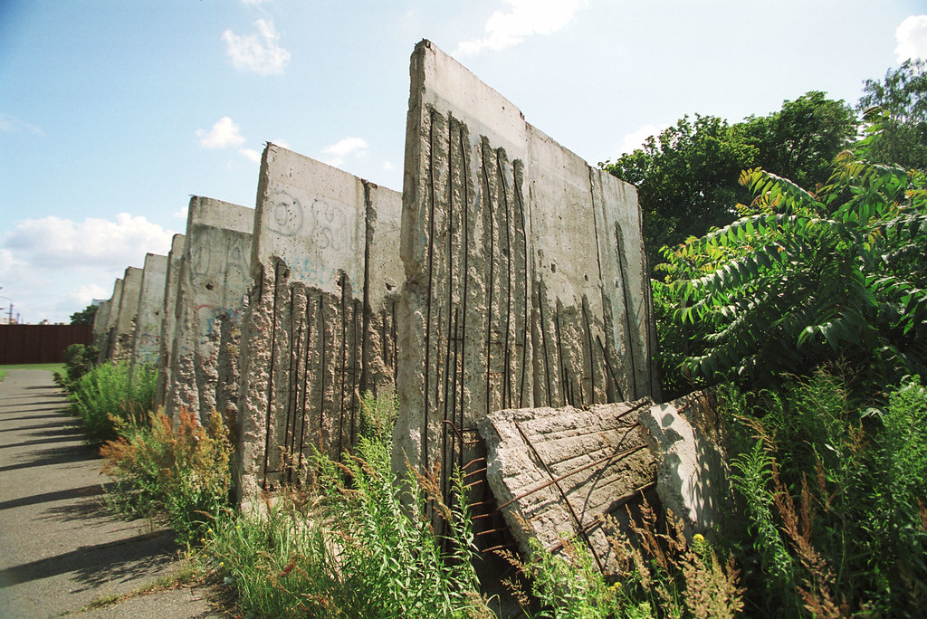 . A part of the Berlin Wall stands in Bernauer Strassez July 12, 2001 in Berlin, Germany.  (Photo by Nina Ruecker/Getty Images)