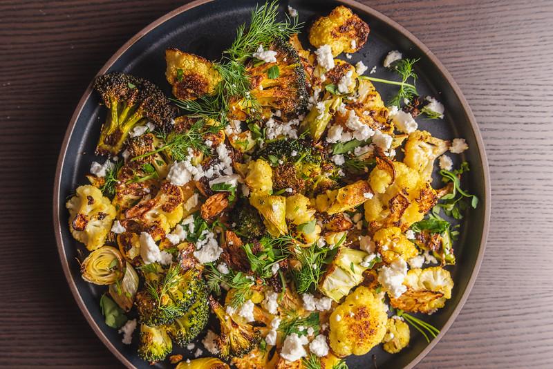 roast broccoli, leeks, and cauliflower