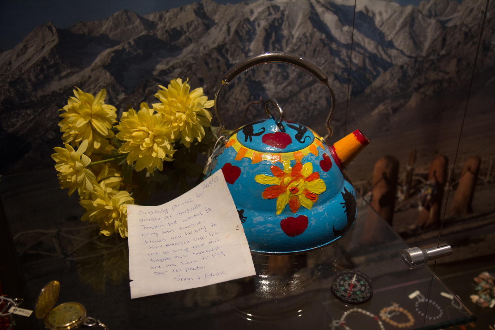 tea kettle from Manzanar cemetery