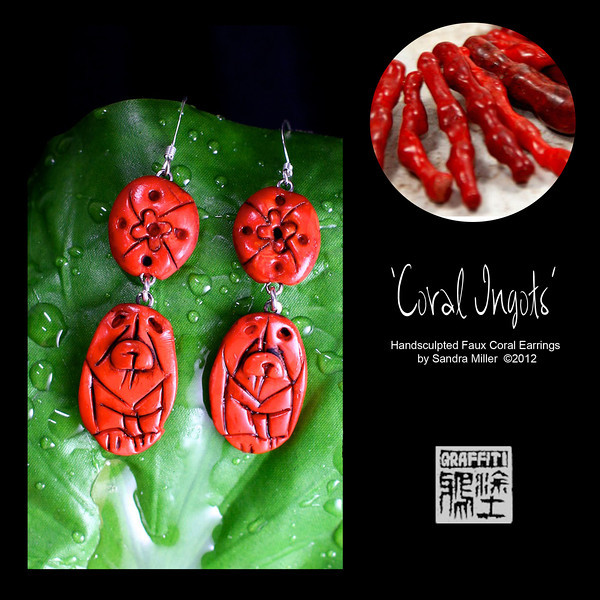 """I have a """"thing"""" for coral as the colors are so varied and rich, they just make you feel warm wearing them.    Since I have never seen a REAL coral chow carving, it became necessary for me to figure out how to create one!!           The FAUX CORAL I create from polymer clay which was painstakingly layered, thinly sliced and layered again and again to bring out the rich orange/red tones and translucent quality of real branch coral!!! You can see the real coral in the background of many of the photos for comparison.  I even introduce """"fissures"""" and pock marks for that realistic touch!        After firing , the entire pendant was covered in black paint (always a """"cringe"""" moment ) and baked on , followed by hours of sanding and buffing off the paint to reveal the exquisite details of the sculpting beneath. It looks for all the world like finely finished coral without the weight or high price tag of the real deal!!            This handsculpted set of beautifully matched faux coral earrings would look stunning with one of my matching bracelets or necklaces!!  EARRINGS MEASURE   1 3/4"""" tall without the earwires."""