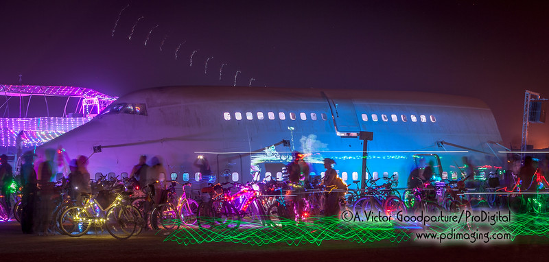 The 747 was converted into a lounge and dance floor.