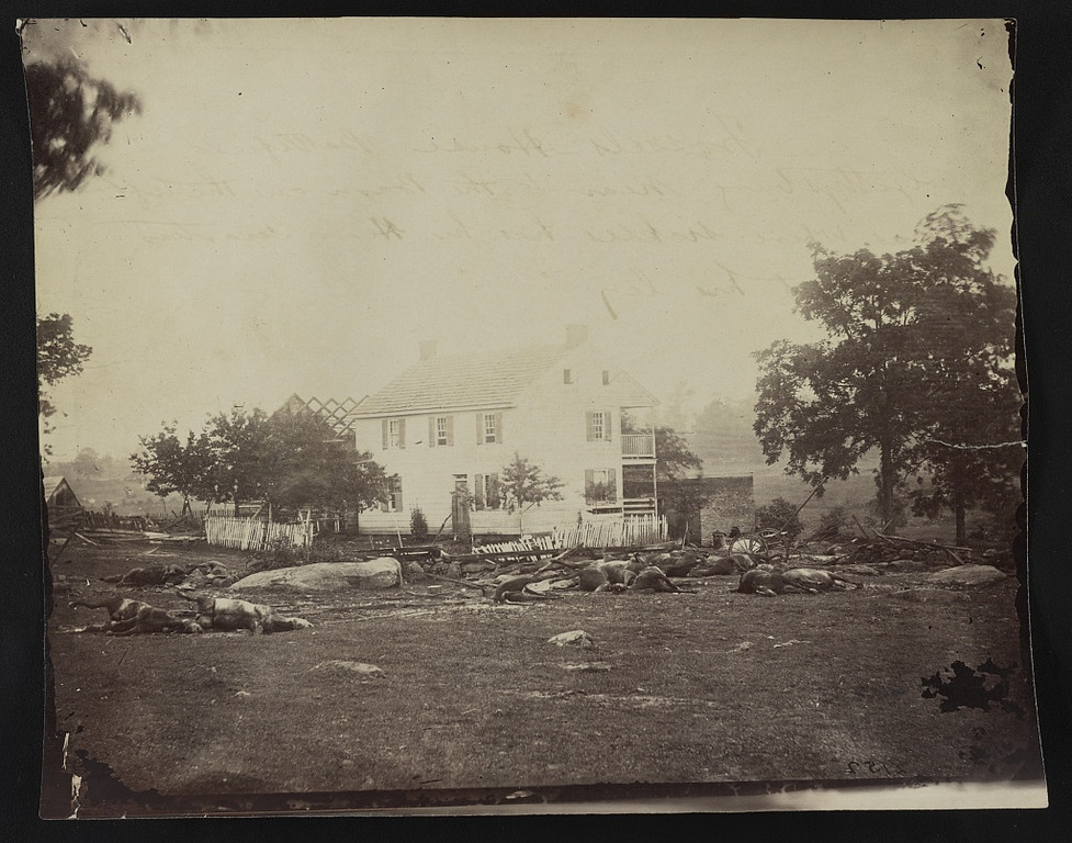 . Trossels house - battlefield Gettysburg - Photograph shows many dead horses on the ground in front of Abraham Trostle\'s house near the headquarters of General Daniel Edgar Sickles.  - Library of Congress Prints and Photographs Division Washington, D.C.