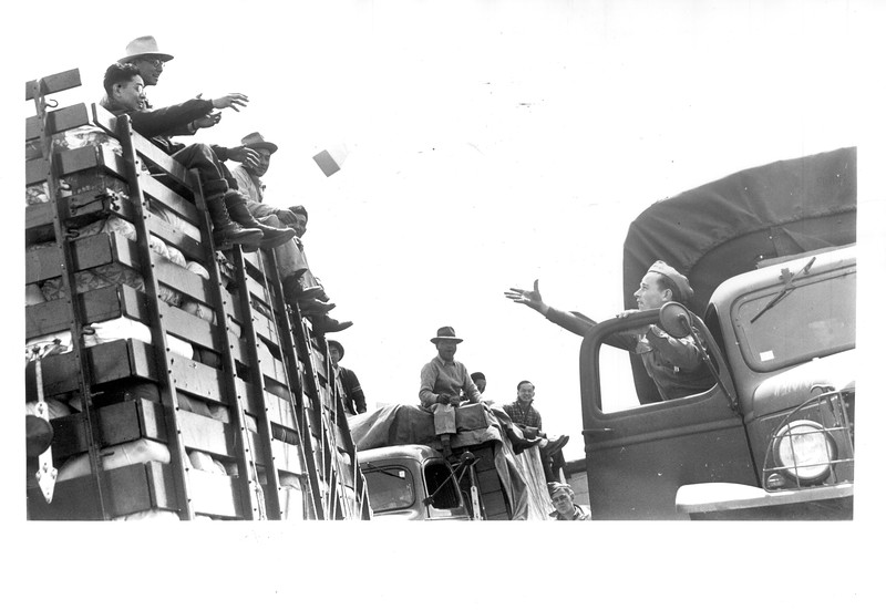 """""""Lunchtime For Japanese Convoy -- Enroute to their new homes in a reception center at Manzanar, California, Japanese traveling in an auto convoy paused in the Mojave desert for a box lunch provided by soldiers who accompanied them"""" -- caption on photograph"""
