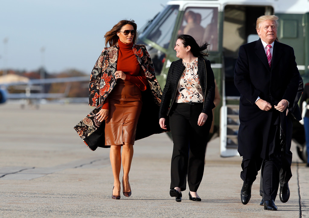. First lady Melania Trump, left, walks with President Donald Trump, as they board Air Force One, as they depart Tuesday, Nov. 21, 2017, at Andrews Air Force Base, Md. Trump is en route to his Mar-a-Largo resort in Florida for the Thanksgiving holiday. (AP Photo/Alex Brandon)