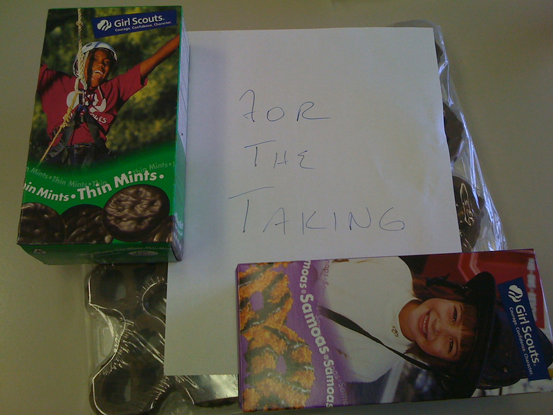Day 1. Same break room. The Girl Scout cookies have made their first appearance.
