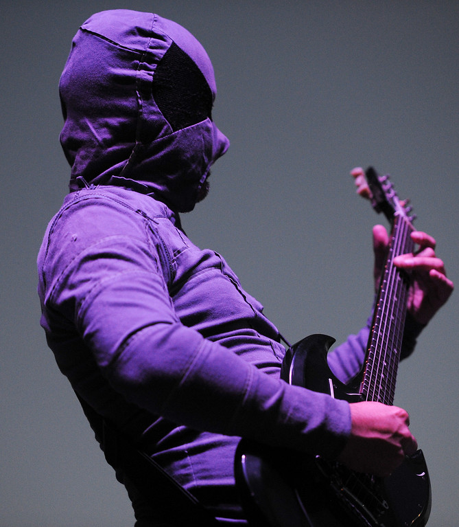 . The Locust\'s guitarist Bobby Bray performs at FYF Fest in downtown L.A., Saturday, August 24, 2013. (Michael Owen Baker/L.A. Daily News)