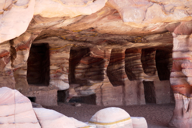 The layers of colorful sandstone stand out in Petra, Jordan.
