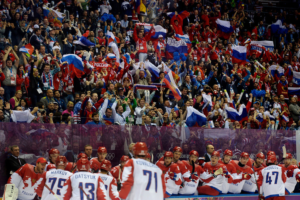 . SOCHI, RUSSIA - FEBRUARY 15: Fans cheer on Pavel Datsyuk (13) of the Russia after his 1-0 goal against the U.S.A. during the second period of men\'s hockey action at Bolshoy arena. Sochi 2014 Winter Olympics on Saturday, February 15, 2014. (Photo by AAron Ontiveroz/The Denver Post)