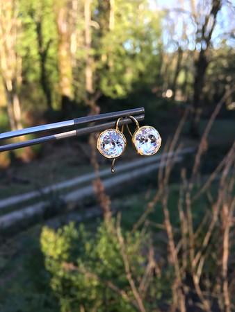 Georgian Era Pastes in Reproduction Bezel Earrings