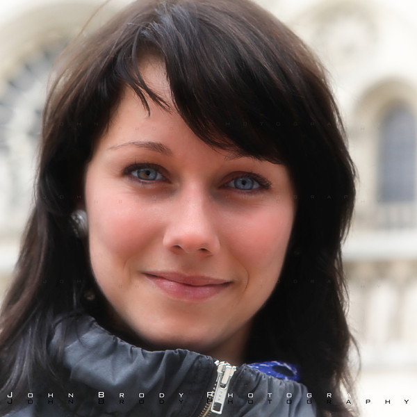 Sweet Girl I met in front of Notre Dame cathedral in Paris... Beautiful eyes - JohnBrody.com