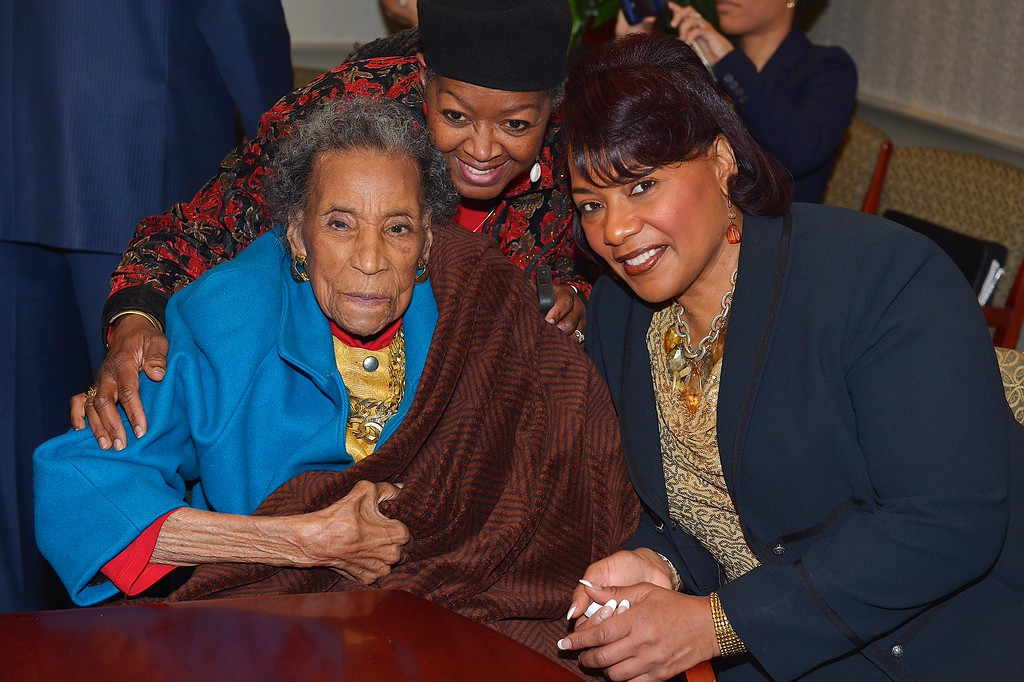 ". Amelia Boynton Robinson and Bernice King attend the reception honoring the 50th anniversary of the ""Selma to Montgomery\"" March at Rosa Parks Library Museum on March 6, 2015 in Montgomery, Alabama.  (Photo by Jason Davis/Getty Images for 51 Miles Forward presented by Hyundai Motor America)"
