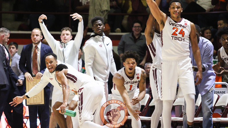 The Virginia Tech bench reacts to a three point make in the first half. (Mark Umansky/TheKeyPlay.com)