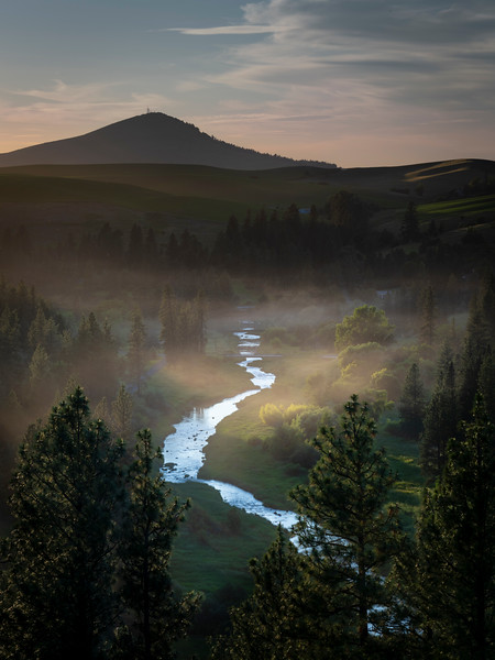 Foggy sunset on the Palouse River