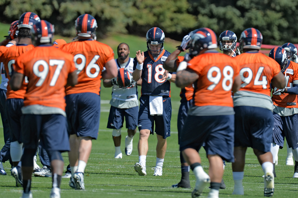 . Peyton Manning (18) of the Denver Broncos claps his hands after stretching during the teams OTAs May 20, 2013 at Dove Valley. All offseason training activities (OTAs) are voluntary until the mandatory minicamp June 11-13. (Photo By John Leyba/The Denver Post)