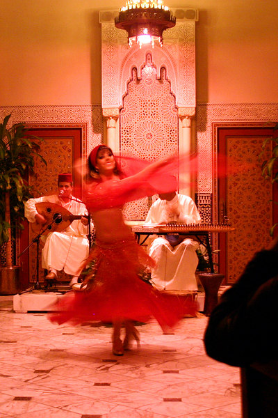 Belly dancer at the Restaurant Marrakesh in the Moroccan pavillion at EPCOT.
