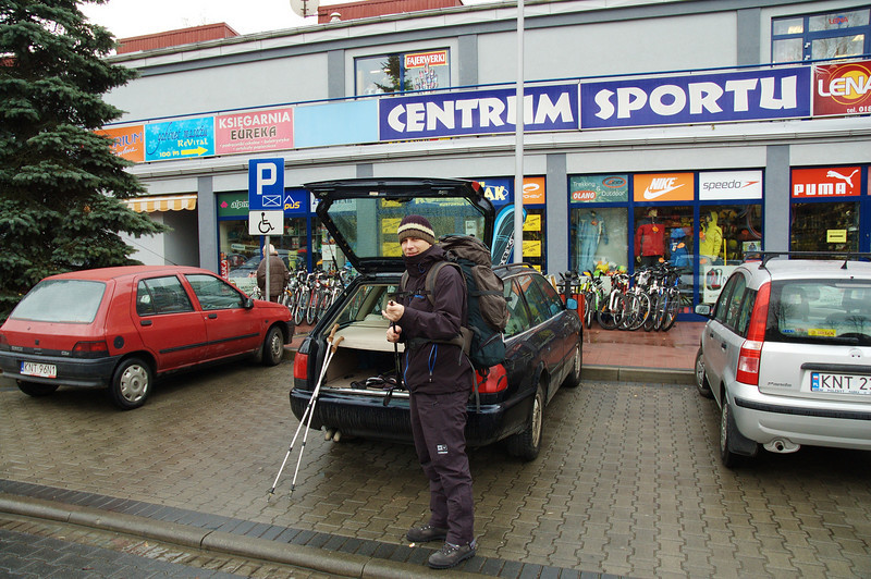 Last minute shopping for hiking sticks
