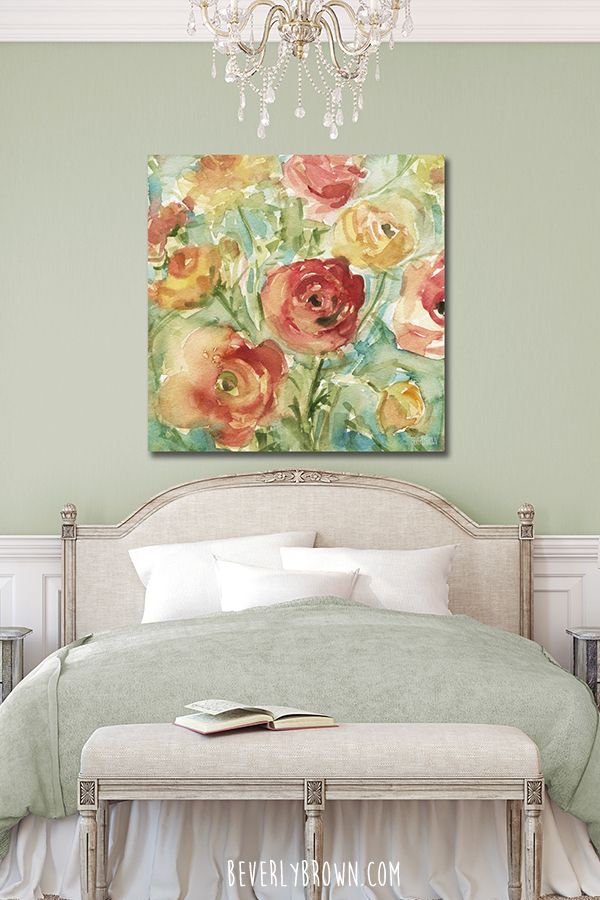 Feminine Bedroom with Soft Green Walls & Colorful Floral Canvas Art by Beverly Brown