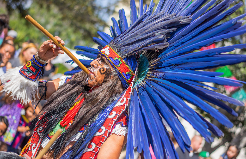 . Aztec dancers perform to celebrate Easter at the La Placita square in Los Angeles on April 19, 2014.      JOE KLAMAR/AFP/Getty Images