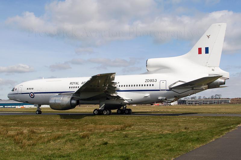 ZD953. Lockheed L-1011-385-3 TriStar C2. RAF. Prestwick. 030407.