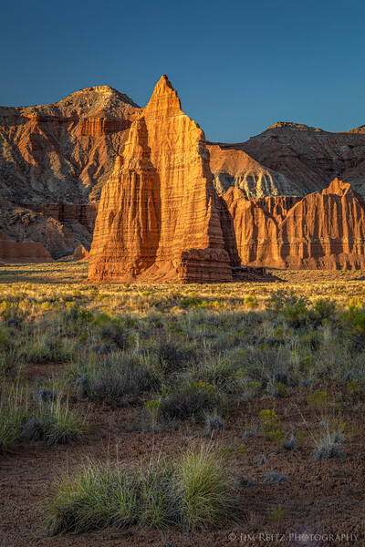 Sunrise on the Temple of the Moon. Cathedral Valley in Capitol Reef National Park.