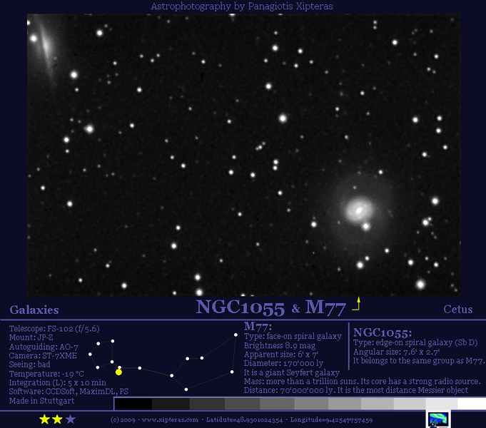 M77 and NGC1055 in Cetus