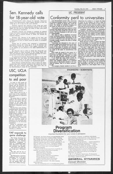 Daily Trojan, Vol. 61, No. 79, February 24, 1970