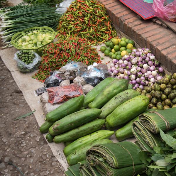 Vegetables for sale at market, Luang Prabang, Laos