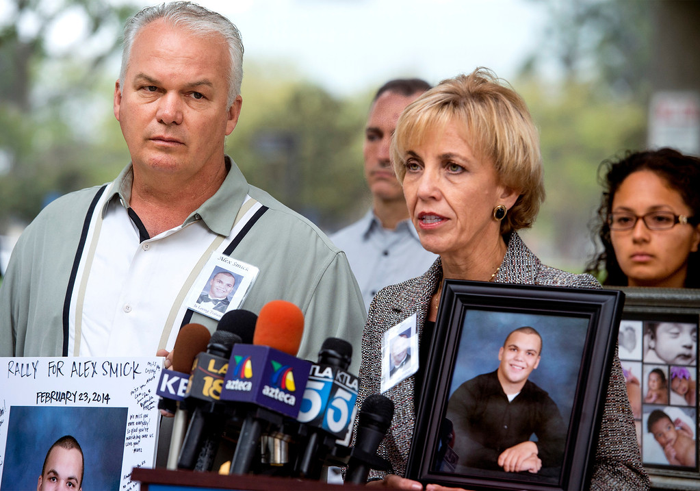 . Tim and Tammy Smick of Downey, Calif. speak during a Consumer Watchdog press conference announcing the gathering 840,00 signatures to qualify the placement of The Troy And Alana Pack Patient Safety Act instituting doctor drug testing on November ballot at the Los Angeles County Recorder\'s Office in Norwalk, Calif. March 24, 2014.  The Smick\'s son Alex died in a hospital due to medical negligence. (Staff photo by Leo Jarzomb/San Gabriel Valley Tribune)