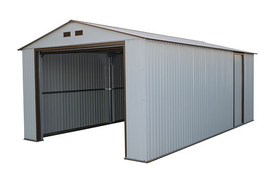 Imperial Metal Garage Off White Brown 12x32
