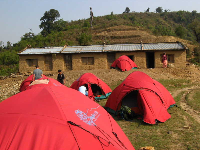 The school at Jyandala with our tents in front of it.