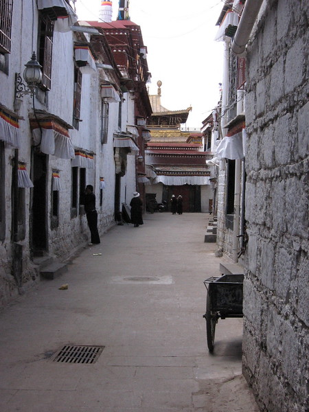 Typical Lhasa street in the Old Quarter