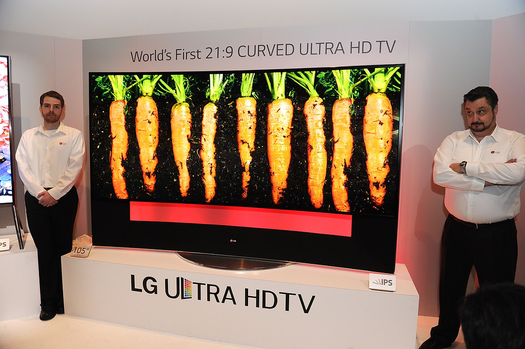 . LG\'s ultra HD television with 105-inch curved display is seen at the LG press conference at the Mandalay Bay Convention Center for the 2014 International CES on January 6, 2014 in Las Vegas, Nevada. (ROBYN BECK/AFP/Getty Images)