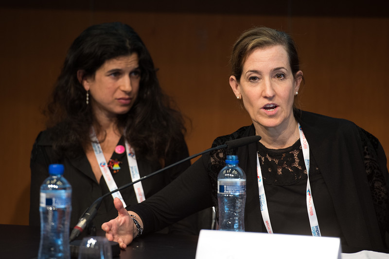 22nd International AIDS Conference (AIDS 2018) Amsterdam, Netherlands   Copyright: Marcus Rose/IAS  Photo shows: The 4th HIV Exposed Uninfected (HEU) Child and Adolescent Workshop.  Lucie Cluver, Oxford University, United Kingdom. Claude Ann Mellins, Columbia University, United States.