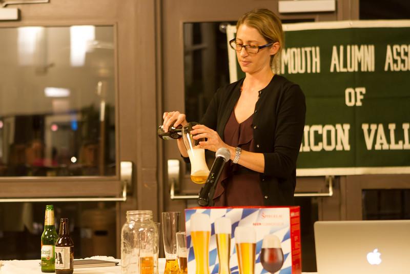 Melissa demonstrating the proper pour.