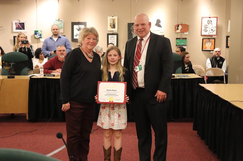 Kaylee Rogers, third grade, Hepburn-Lycoming Primary