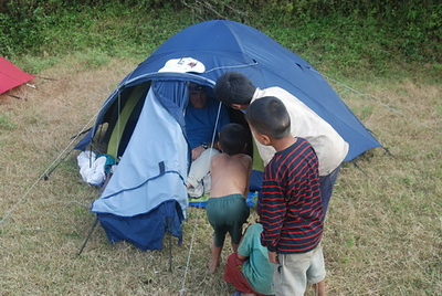 Locals are always curious as to what is happening in your tent